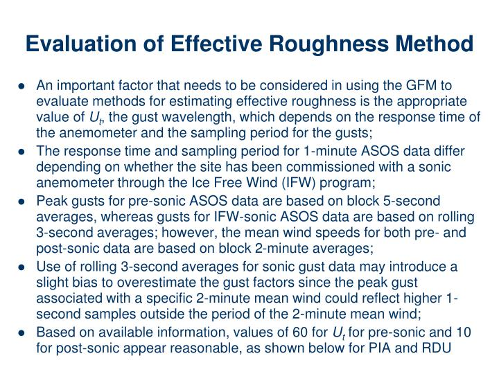 Evaluation of Effective Roughness Method