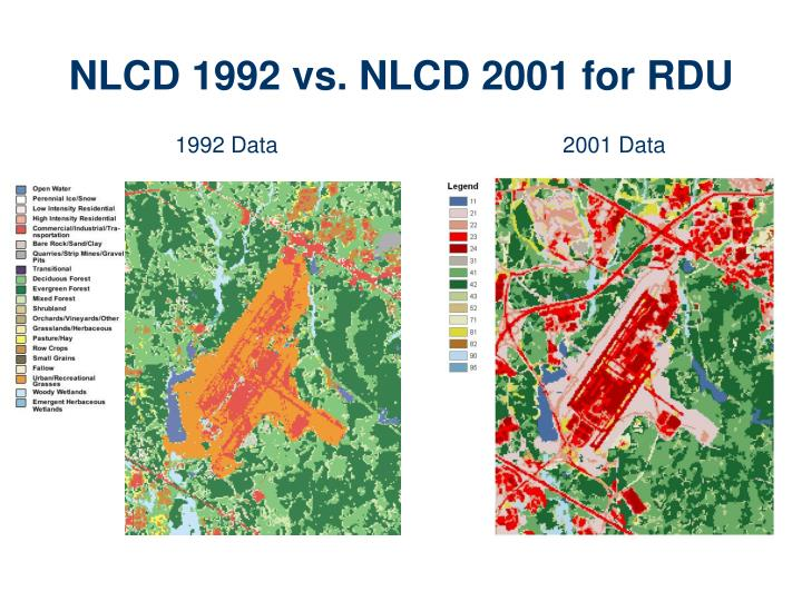 NLCD 1992 vs. NLCD 2001 for RDU