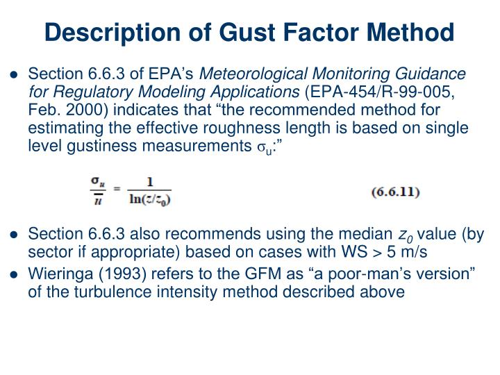 Description of Gust Factor Method