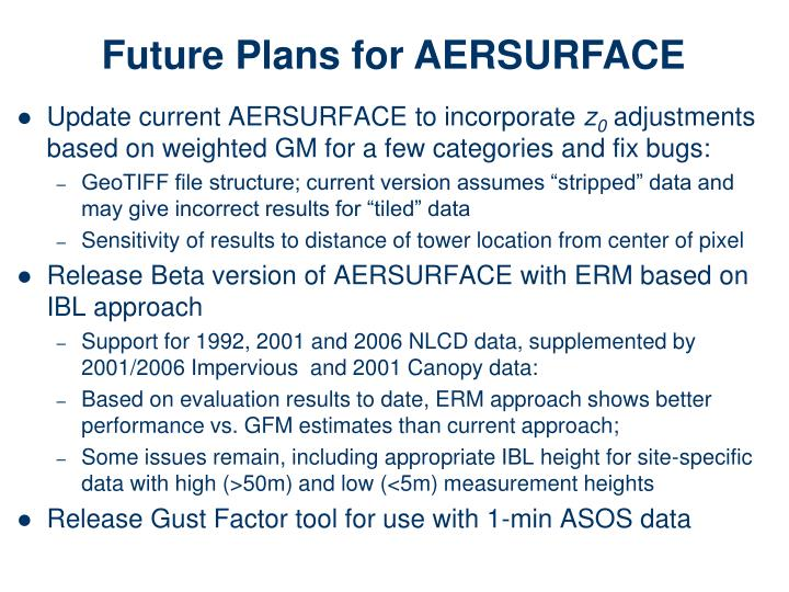 Future Plans for AERSURFACE