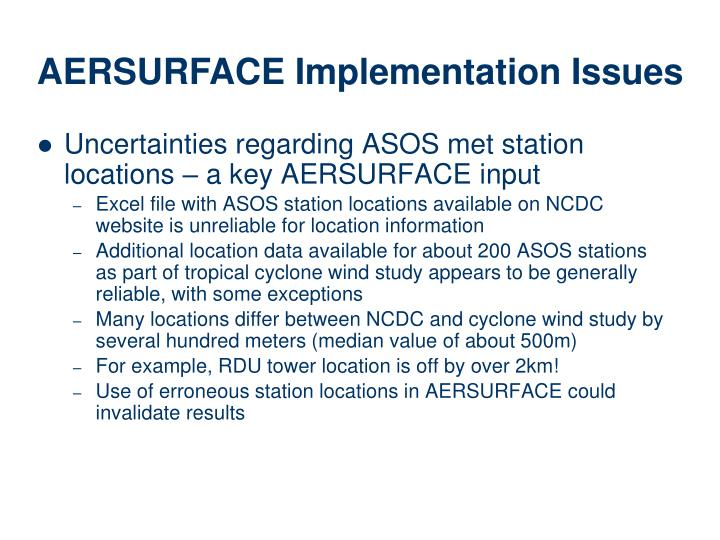 Uncertainties regarding ASOS met station locations – a key AERSURFACE input