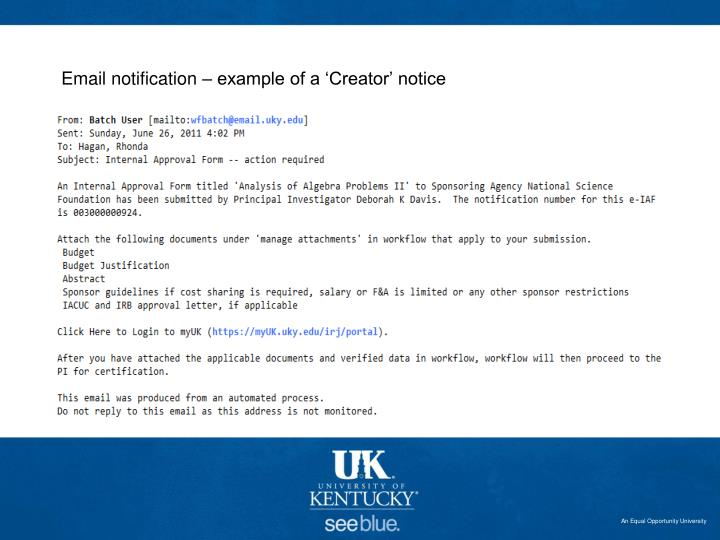 Email notification – example of a 'Creator' notice