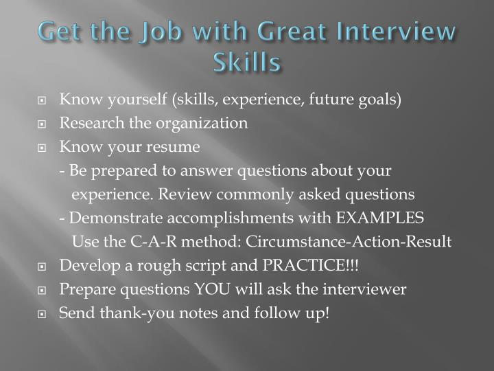Get the Job with Great Interview Skills
