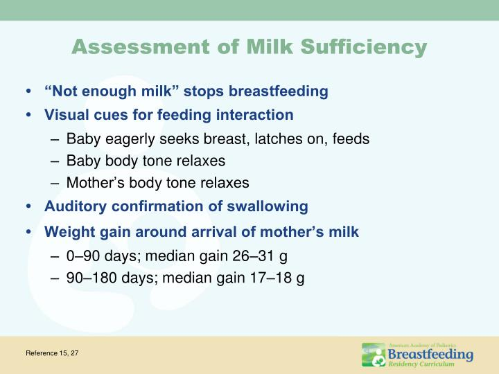 Assessment of Milk Sufficiency