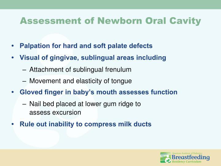 Assessment of Newborn Oral Cavity