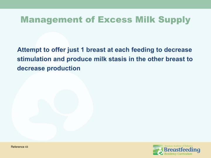 Management of Excess Milk Supply
