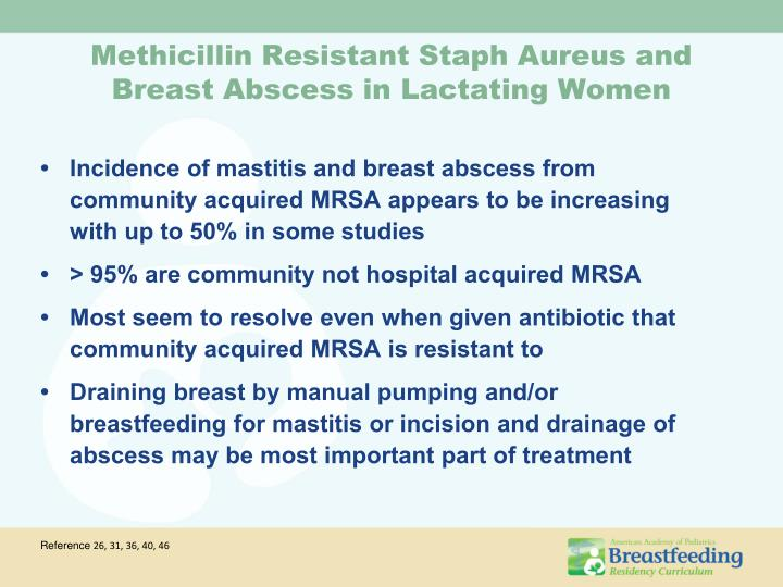 Incidence of mastitis and breast abscess from community acquired MRSA appears to be increasing with up to 50% in some studies