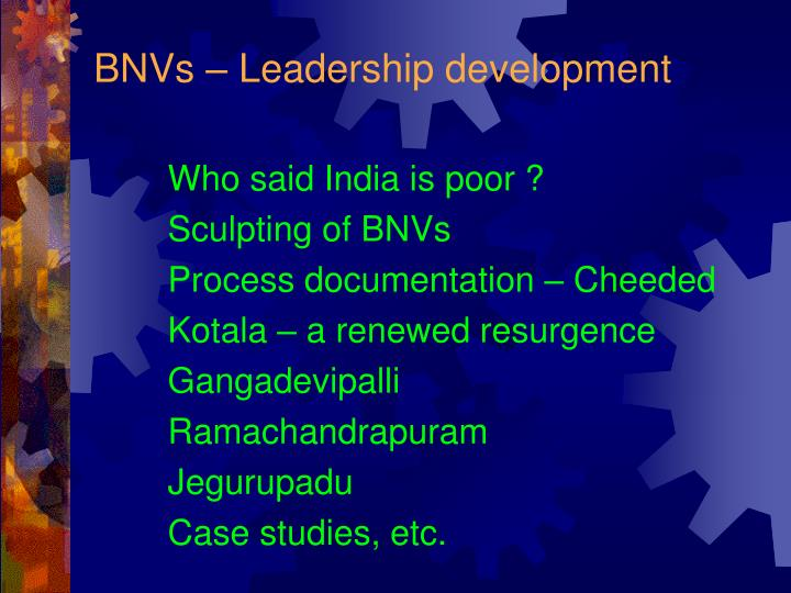 BNVs – Leadership development