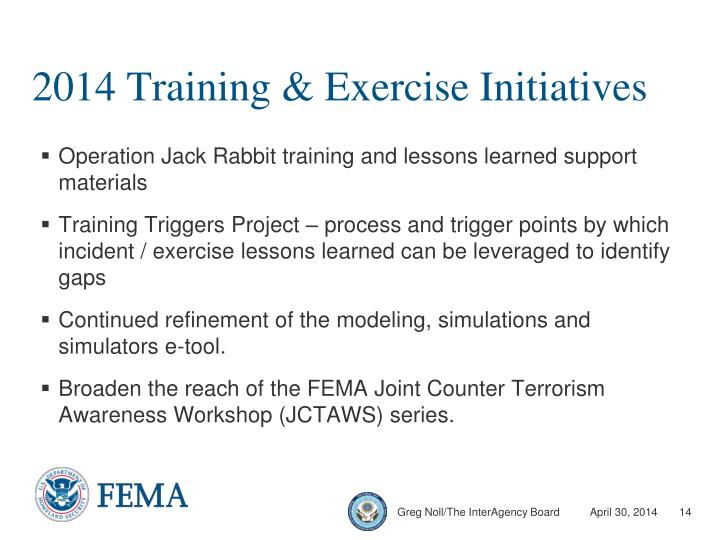 2014 Training & Exercise Initiatives