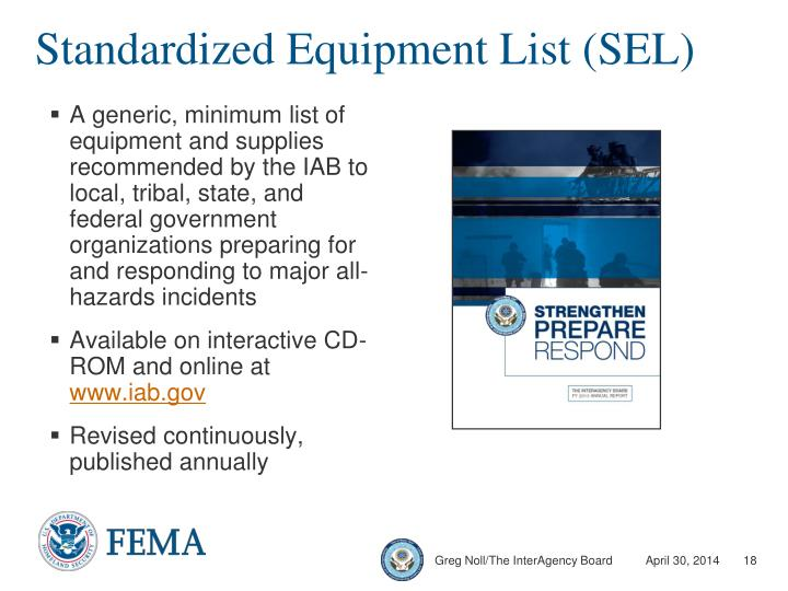 Standardized Equipment List (