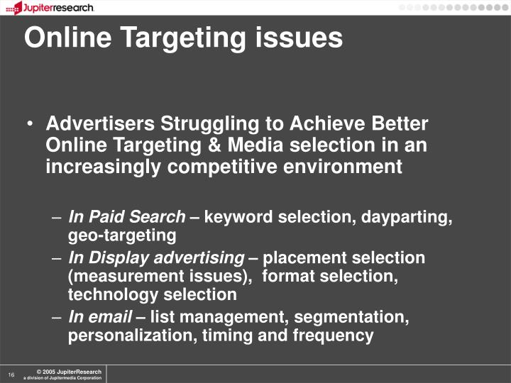 Online Targeting issues