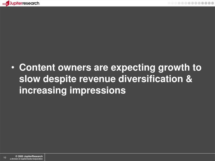 Content owners are expecting growth to slow despite revenue diversification & increasing impressions