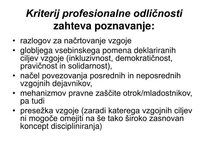 Kriterij profesionalne odličnosti