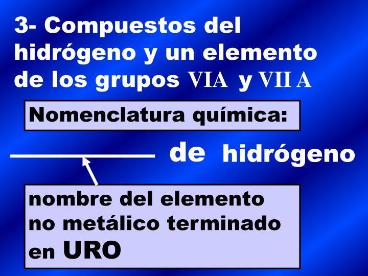 3- Compuestos del hidrógeno y un elemento de los grupos