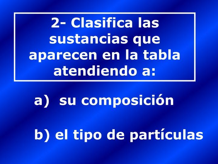 2- Clasifica las sustancias que aparecen en la tabla atendiendo a: