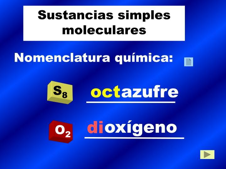 Sustancias simples moleculares