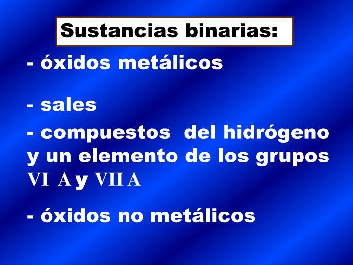Sustancias binarias: