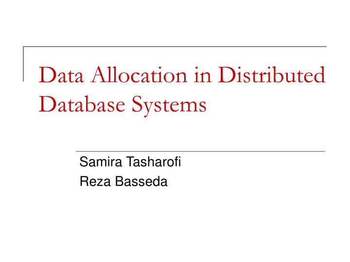 Data allocation in distributed database systems