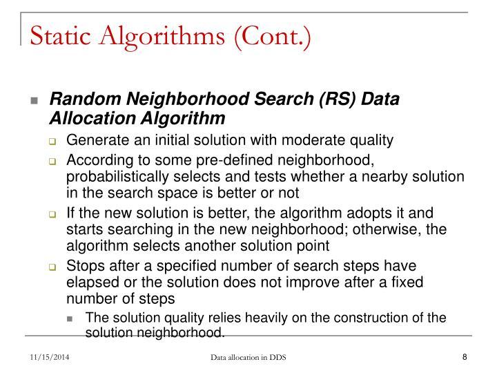 Static Algorithms (Cont.)