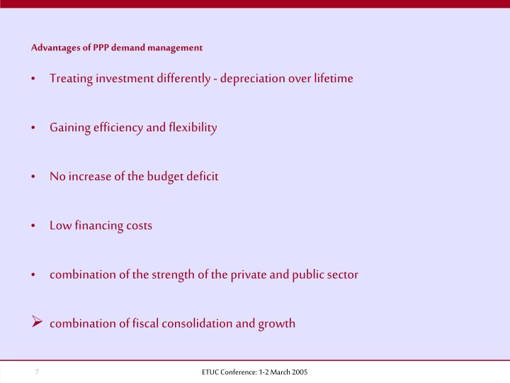Advantages of PPP demand management