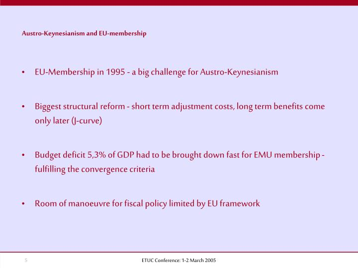 Austro-Keynesianism and EU-membership