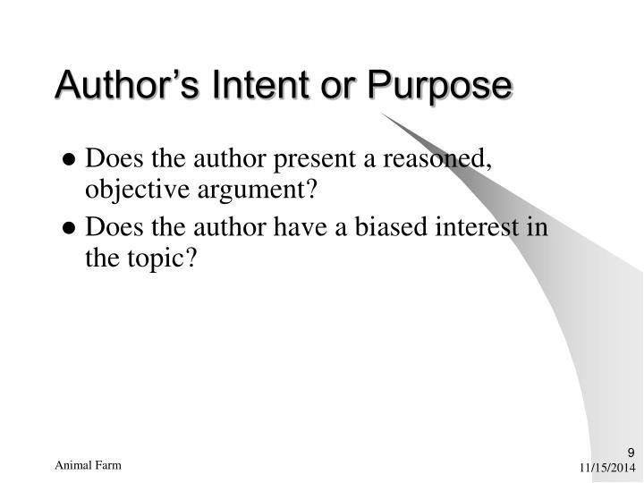 Author's Intent or Purpose