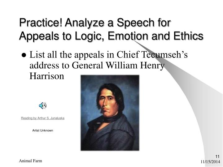 Practice! Analyze a Speech for Appeals to Logic, Emotion and Ethics