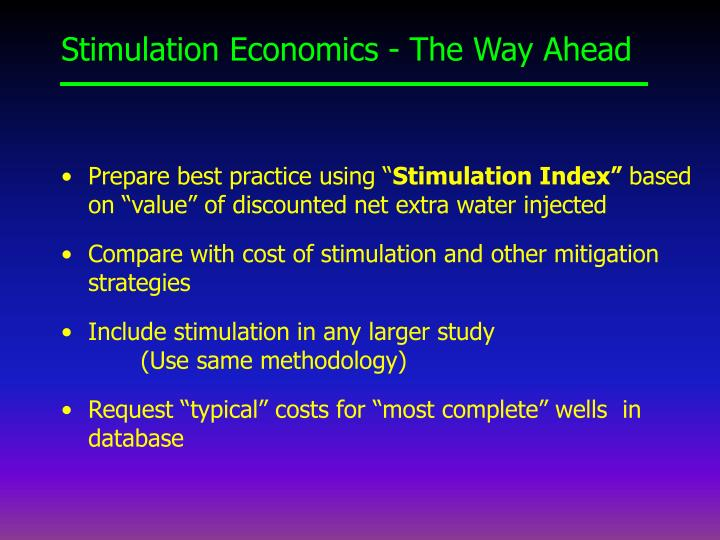 Stimulation Economics - The Way Ahead