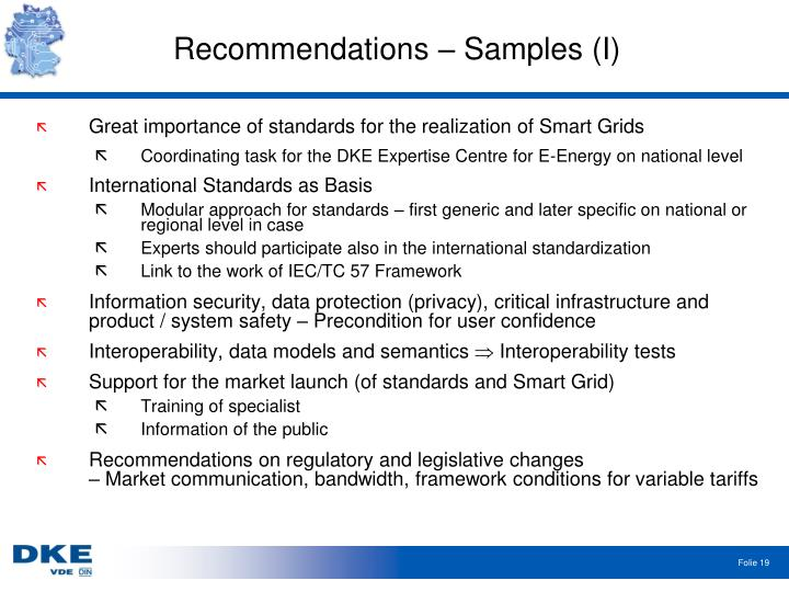 Recommendations – Samples (I)