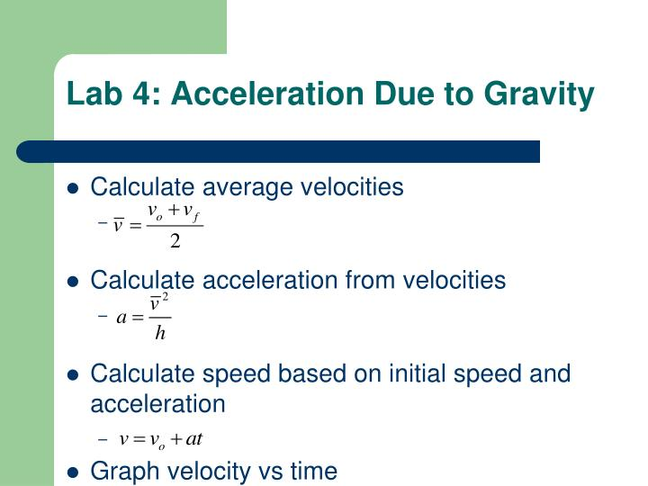 Lab 4: Acceleration Due to Gravity