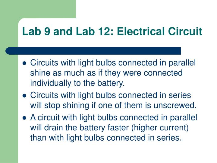 Lab 9 and Lab 12: Electrical Circuit