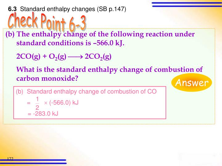 Standard enthalpy change of combustion of CO