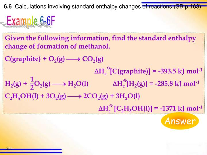 Given the following information, find the standard enthalpy change of formation of methanol.