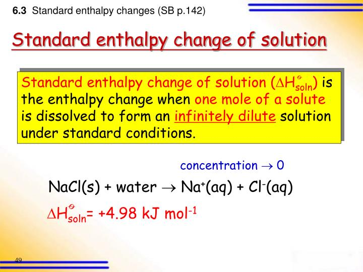 Standard enthalpy change of solution (
