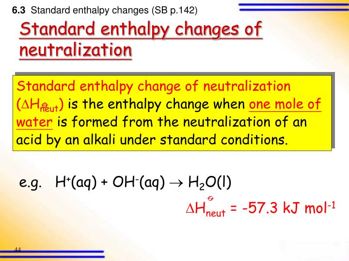 Standard enthalpy change of neutralization