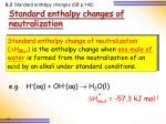 standard enthalpy changes of neutralization