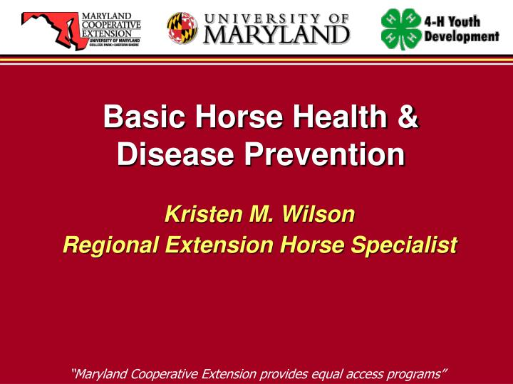 Basic Horse Health & Disease Prevention