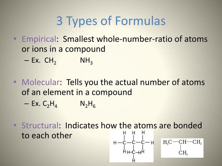 3 types of formulas