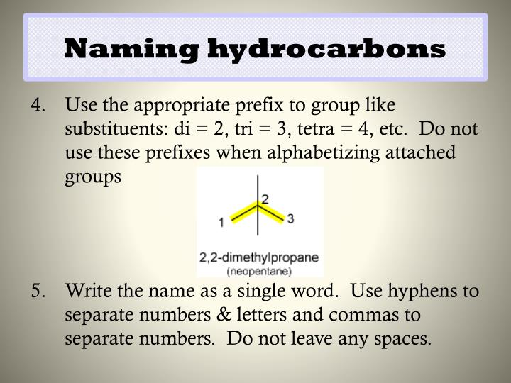 Naming hydrocarbons
