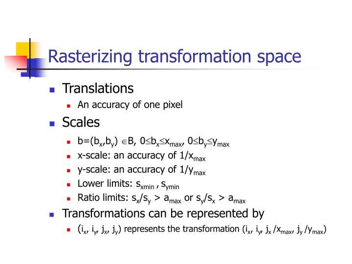 Rasterizing transformation space