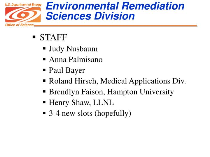 Environmental Remediation Sciences Division