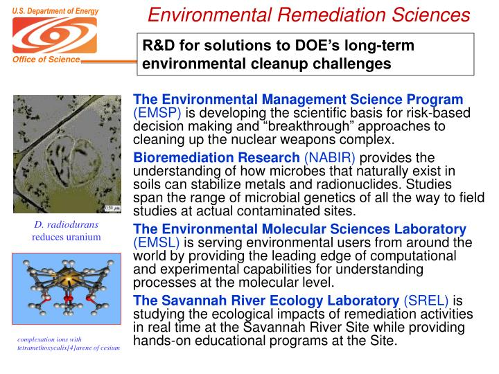 Environmental Remediation Sciences