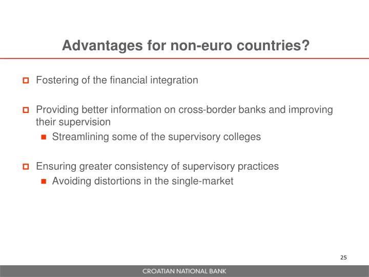 Advantages for non-euro