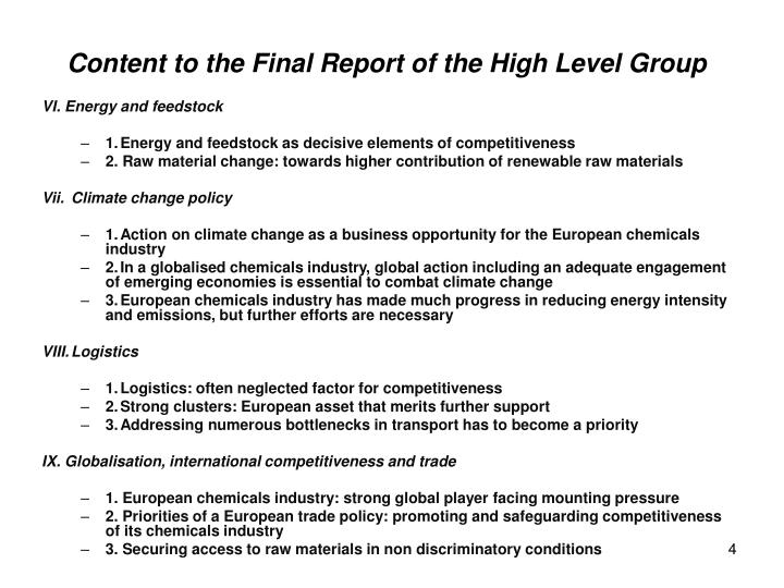 Content to the Final Report of the High Level Group