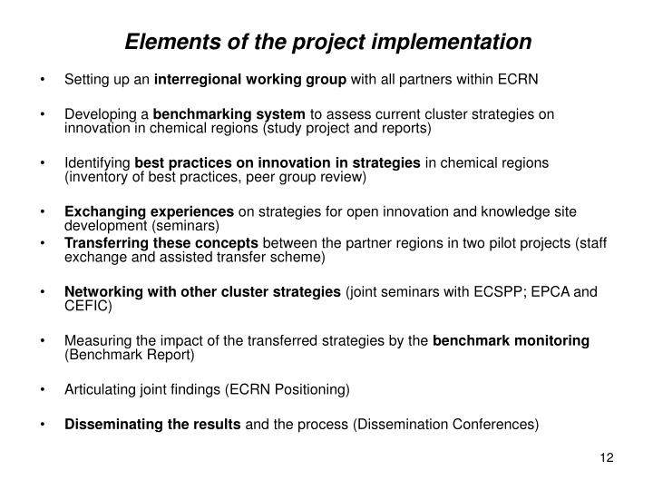 Elements of the project implementation