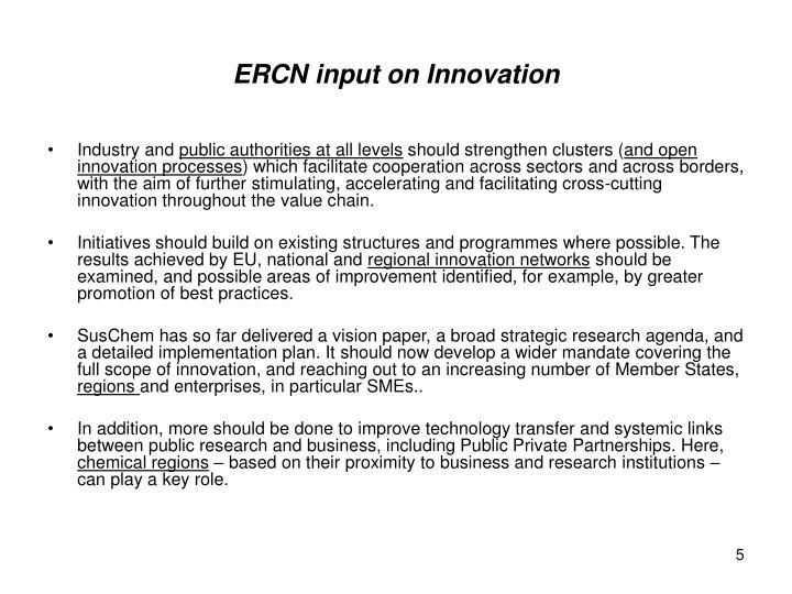 ERCN input on Innovation