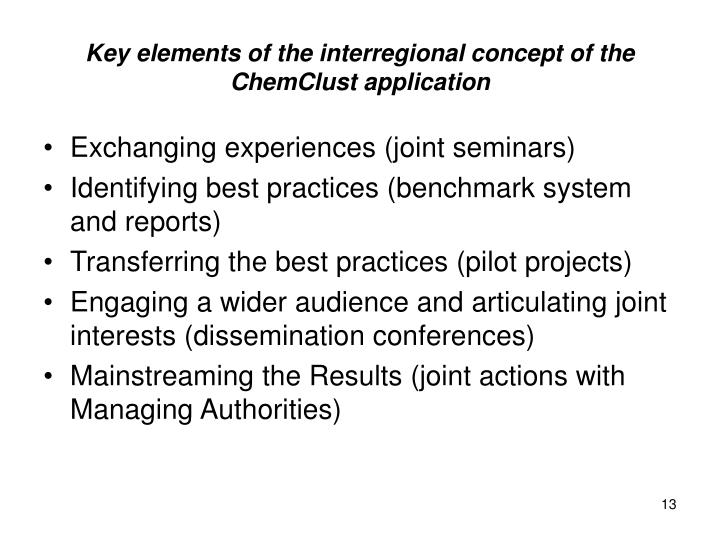 Key elements of the interregional concept of the ChemClust application