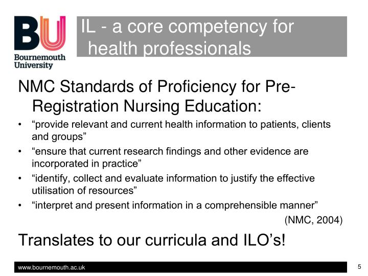 IL - a core competency for health professionals