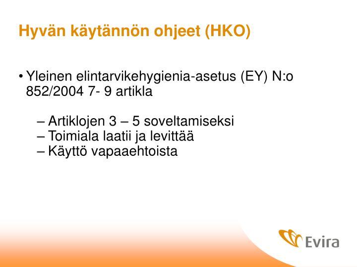 Hyvän käytännön ohjeet (HKO)