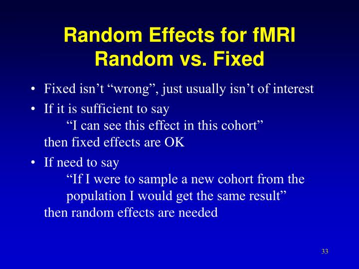 Random Effects for fMRI